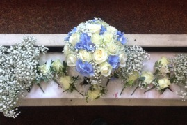 hand tied bouquet of hydrangers and roses wedding flowers darlington