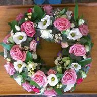 Pink rose wreath funeral tributes delivery darlington Heavenly Scent Florist Darlington