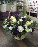 sweet cream, green and purple basket for local delivery in darlington