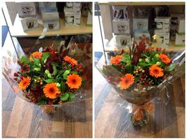 Flower delivery to homes work places and business in Darlington and the surrounding areas by Heavenly Scent Florists 33 Bondgate Darlington town center Bright orange hand tied bouquet