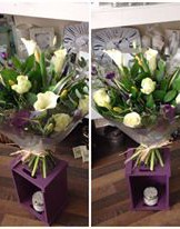 A Beautiful hand tied bouquet by Heavenly Scent Florists 33 bondgate darlington 01325 389933 purple cream green black modern contemporary delivered Darlington
