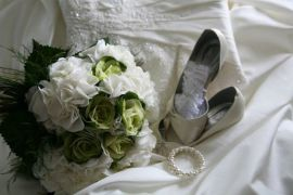 Large shabby chic bridal bouquet of hydrangeas and brassica cabbages.