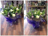 Cream, green and purple aqua pack bouquet with baloon for delivery in darlington from a local quality florist
