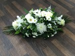 Double ended and single ended sprays carnations fresh flowers  fresh or artificial  floral teddy bear funeral tribute made lovingly by hand in our little shop with fresh flowers in 33 bondgate darlington local free deliver