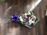pink and purple  local and free delivery funeral flower tribute  cheap colourful traditional darlington and surrounding areas  hand made artificial funeral  florist darlington