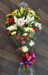 yellow mixed traditional flat spray  local and free delivery funeral flower tribute  cheap colourful traditional darlington and surrounding areas  hand made artificial funeral  florist darlington