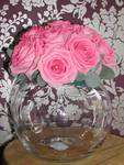 Wedding table centerpiece with fish-bowl and aqua pink roses. wedding flowers free local and surrounding areas delivery 33 bondgate darlington