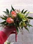 Small rustic style bridesmaid hand held bou wedding flowers free local and surrounding areas delivery 33 bondgate darlington quet in peach and lime.