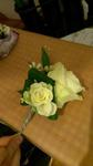 Groom's button hole with an avalanche roses and a spray rose with wax white and greens. wedding flowers free local and surrounding areas delivery 33 bondgate darlington
