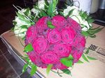 red rose and grass domed bridal handtied bouquet