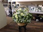 wicker basket  filled with a wide range of stunning flowers with white roses freesia lilies spray roses with fresh flowers in pots water cans jugs, other pots and containers heavenly scent 33 bondgate darlington free local delivery and surrounding areas