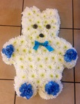 teddy bear baby funeral tribute made lovingly by hand in our little shop with fresh flowers in 33 bondgate darlington local delivery