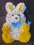 baby lemon and cream bunny rabbit funeral trib funeral tribute made lovingly by hand in our little shop with fresh flowers in 33 bondgate darlington local delivery  darlington