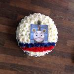 baby Thomas the tank engine posy pad white chrysanthemum  roses fresh flowers  floral funeral tribute Darlington designer floral tribute funeral sympathy tribute heavenly scent florist Darlington local free delivery