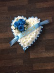 baby blue solid heart  floral  funeral tribute made lovingly by hand in our little shop with fresh flowers in 33 bondgate darlington local delivery