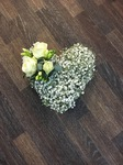 baby  gypsophila solid heart  fresh or artificial  floral teddy bear funeral tribute made lovingly by hand in our little shop with fresh flowers in 33 bondgate darlington local free delivery