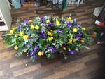 classicyellow purples and iris  and cream Lilly coffin say  fresh  funeral flowers free delivery local and surrounding areas casket tribute funeral flowers roses coffin florist designer hand made traditional
