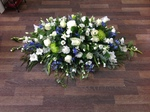 casket tribute white chrysanthemum  roses fresh flowers  floral funeral tribute Darlington designer floral tribute funeral sympathy tribute heavenly scent florist Darlington local free delivery same day cheap darlington florists