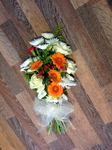 colourful gerbera sheaf consisting of chrysanthemums lisianthus berry's and other delicate fresh flowers  fresh funeral hand made by heavenly scent local delivery in darlington and surrounding areas by heavenly scent