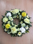 mixed wreath fresh blooms pom pom lemon green floral funeral tribute heavenly scent florist darlington fresh  funeral flowers local and surrounding areas