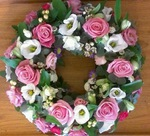 mixed wreath fresh pink white floral funeral tribute heavenly scent florist darlington fresh  funeral flowers local and surrounding areas