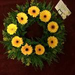 mixed wreath white chrysanthemum  roses fresh flowers  floral funeral tribute Darlington designer floral tribute funeral sympathy tribute heavenly scent florist Darlington local free delivery