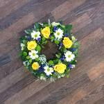sun flower mxied foliage wreath white chrysanthemum  roses fresh flowers  floral funeral tribute Darlington designer floral tribute funeral sympathy tribute heavenly scent florist Darlington local free delivery