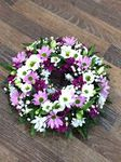 mixed purple wreath white chrysanthemum  roses fresh flowers  floral funeral tribute Darlington designer floral tribute funeral sympathy tribute heavenly scent florist Darlington local free delivery