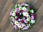 mixed wreath white chrysanthemum  roses fresh flowers  floral funeral tribute Darlington designer floral tribute funeral sympathy tribute heavenly scent florist Darlington local free delivery same day cheap
