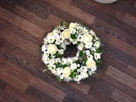mixed wreath white chrysanthemum  roses fresh flowers  floral funeral tribute Darlington designer flower arrangement  funeral sympathy tribute heavenly scent florist Darlington local free delivery same day cheap 33 bondgate darlington dl37jj