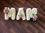 mam letters  white chrysanthemum  roses fresh flowers  floral funeral tribute Darlington designer floral tribute funeral sympathy tribute heavenly scent florist Darlington local free delivery