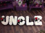 uncle funeral flowers white chrysanthemum  roses fresh flowers  floral funeral tribute Darlington designer floral tribute funeral sympathy tribute heavenly scent florist Darlington local free delivery