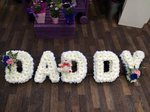 daddy dad frame ribbon  white chrysanthemum  roses fresh flowers  floral funeral tribute Darlington designer floral tribute funeral sympathy tribute heavenly scent florist Darlington local free delivery