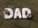 dad floral tribute white chrysanthemum  roses fresh flowers  floral funeral tribute Darlington designer floral tribute funeral sympathy tribute heavenly scent florist Darlington local free delivery same day cheap