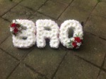 bro/brother tribute white chrysanthemum  roses fresh flowers  floral funeral tribute Darlington designer floral tribute funeral sympathy tribute heavenly scent florist Darlington local free delivery same day cheap