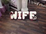 wife/ gran/grandma/granny white chrysanthemum  roses fresh flowers  floral funeral tribute Darlington designer floral tribute funeral sympathy tribute heavenly scent florist Darlington local free delivery same day cheap