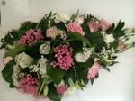 single ended mixed pinks  spray roses lilies casket tribute  floral funeral tribute heavenly scent florist darlington fresh  funeral flowers local and surrounding areas