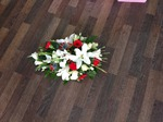 casket tribute white chrysanthemum  roses fresh flowers  floral funeral tribute Darlington designer floral tribute funeral sympathy tribute heavenly scent florist Darlington local free delivery same day cheap
