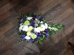 casket tribute single ended spray double ended spray white chrysanthemum  roses fresh flowers  floral funeral tribute Darlington designer floral tribute funeral sympathy tribute heavenly scent florist Darlington local free delivery same day cheap