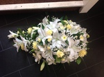 casket tribute single ended spray double ended spray white chrysanthemum  roses fresh flowers  floral funeral tribute Darlington designer floral tribute funeral sympathy tribute heavenly scent florist Darlington local free delivery local same day cheap