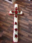 white chrysanthemum cross with red rose courages  funeral tribute made lovingly by hand in our little shop with fresh flowers in 33 bondgate darlington free local delivery