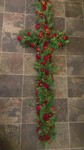 cross with red rose and traditinal foilage  courages  funeral tribute made lovingly by hand in our little shop with fresh flowers in 33 bondgate darlington free local delivery