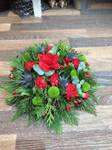 mixed posy red green and thistle  floral funeral tribute heavenly scent florist darlingto fresh  funeral flowers local and surrounding areas