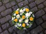 mixed posy yellow and white floral funeral tribute heavenly scent florist darlington fresh  funeral flowers local and surrounding areas