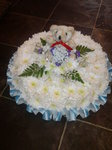 traditonal posy with teddy for baby  floral funeral tribute heavenly scent florist darlington