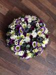 posy with mied flowers and folige ,carnations gerbera seasonal traditinal foilage  courages  funeral tribute made lovingly by hand in our little shop with fresh flowers in 33 bondgate darlington free local delivery