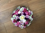 colourful mixed posy white chrysanthemum  roses fresh flowers  floral funeral tribute Darlington designer floral tribute funeral sympathy tribute heavenly scent florist Darlington local free delivery same day cheap