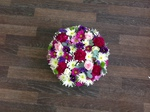 colourful mixed posy white chrysanthemum  roses fresh flowers  floral funeral tribute Darlington designer floral tribute funeral sympathy tribute heavenly scent florist Darlington local free delivery same day cheap darlington florist