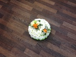 posy tribute single ended spray double ended spray white chrysanthemum  roses fresh flowers  floral funeral tribute Darlington designer floral tribute funeral sympathy tribute heavenly scent florist Darlington local free delivery local same day cheap
