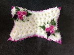 pillow in white with pink corsages  floral funeral tribute heavenly scent florist darlington free local delivery